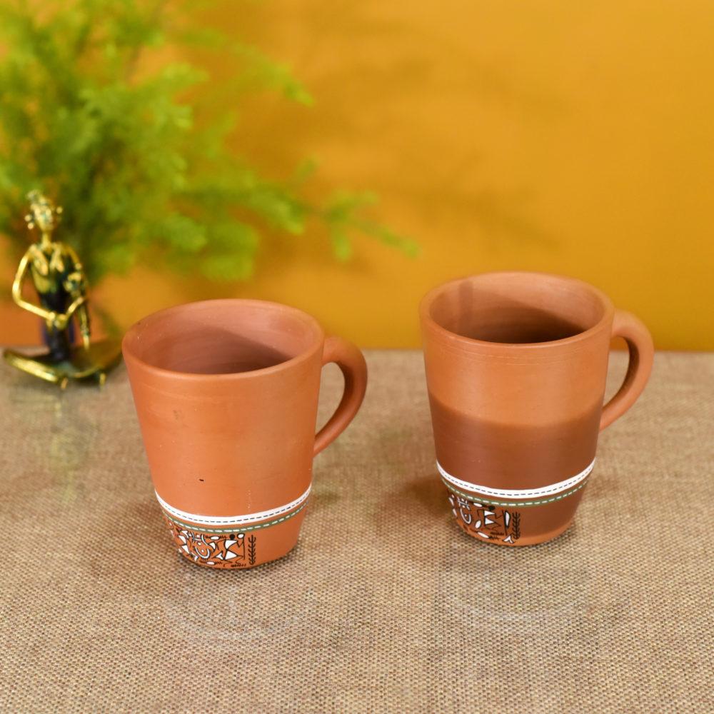 Knosh-3 Earthen Mugs with Tribal Motifs (Set of 2)