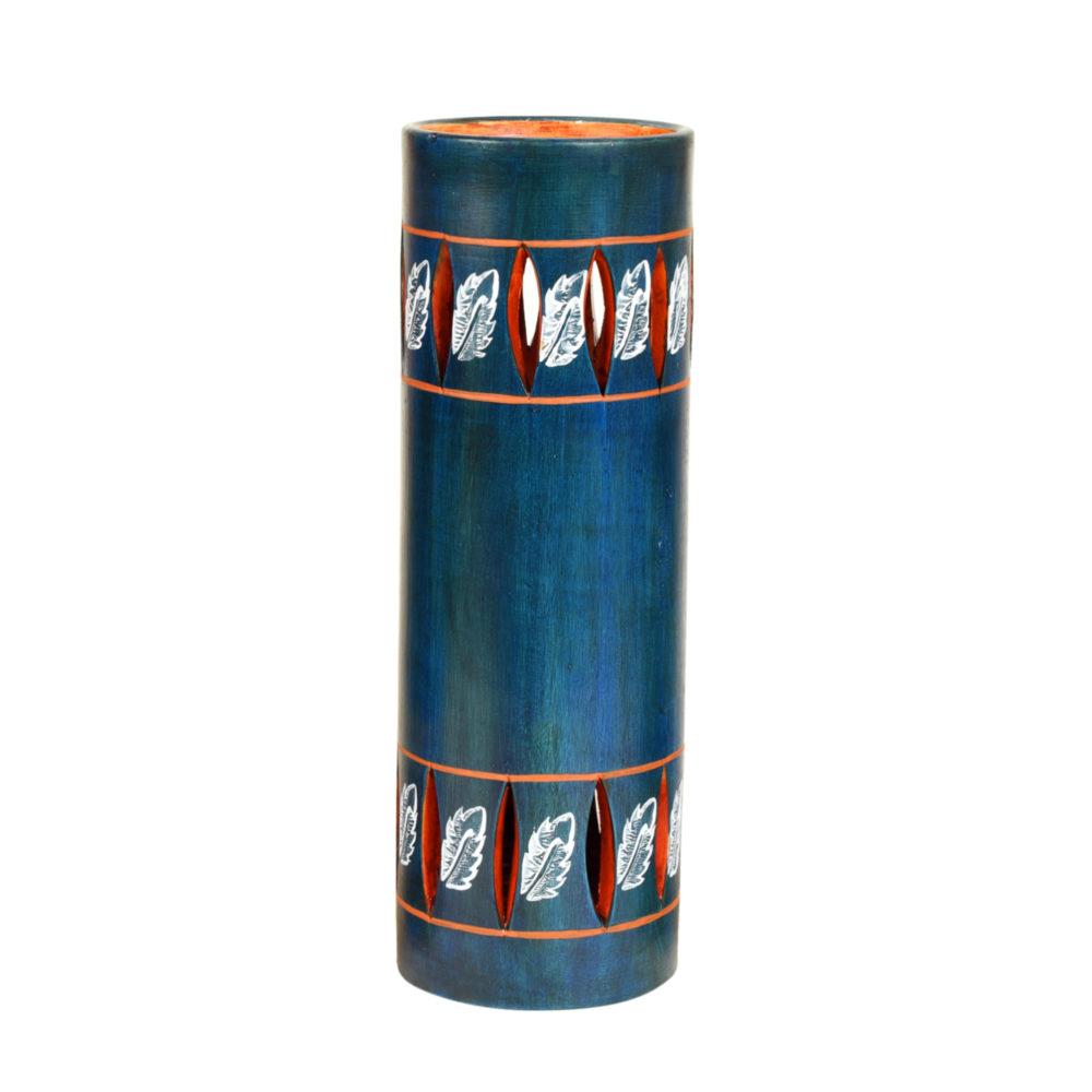 Autumn Leaf Handpainted Tubular Earthen Vase