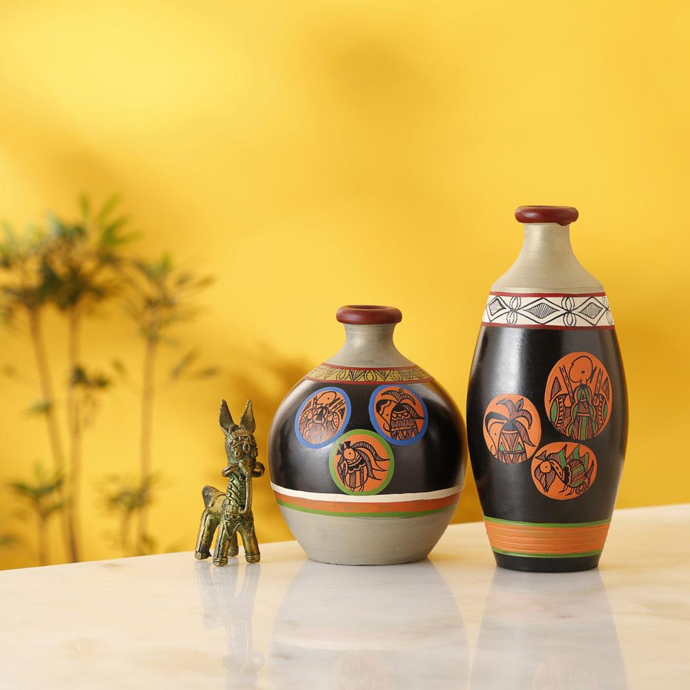 Black Earthen Vases with Madhubani Tattoo Art - So2