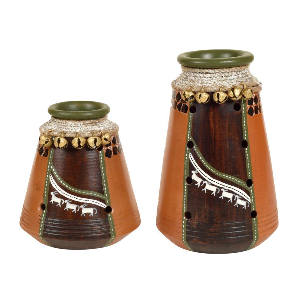 Coco-B Earthen Brown Jute embellished Pots - So2