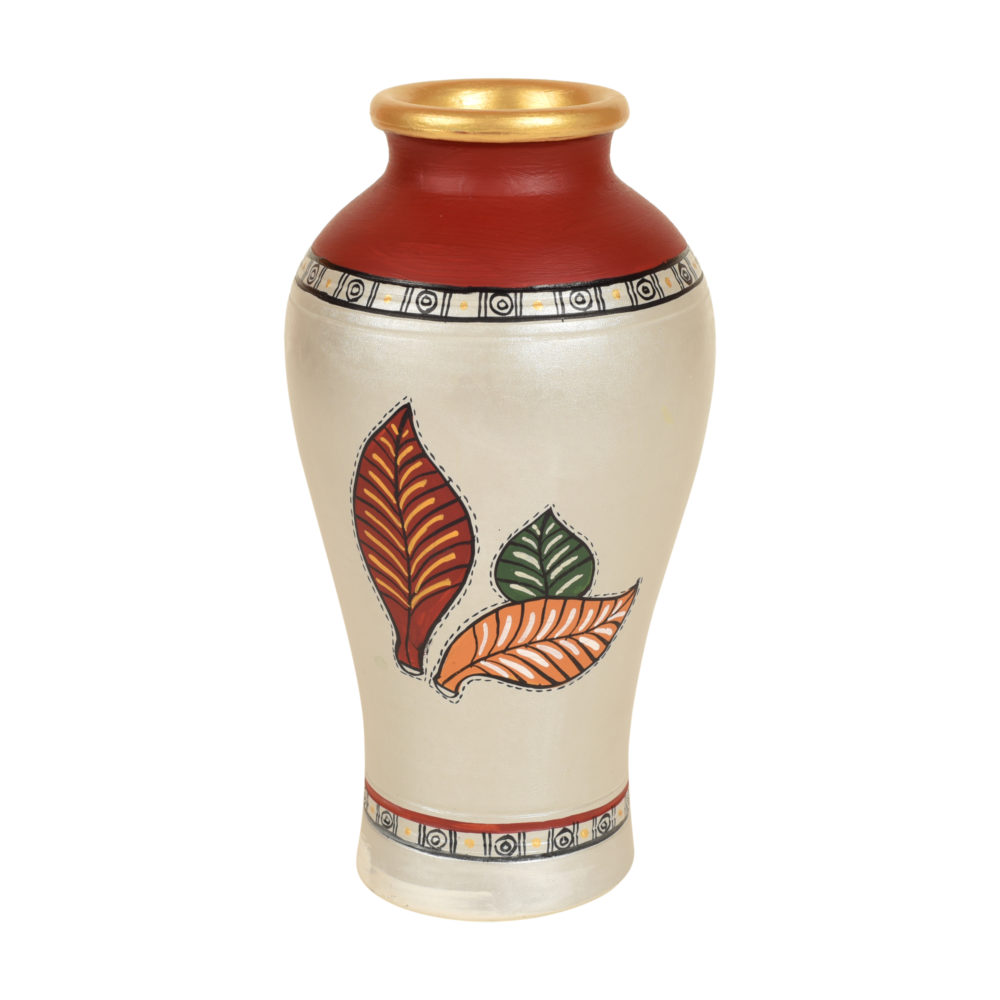 Silver Bloom Earthen Vase Handpainted in Tribal Art (9x5)