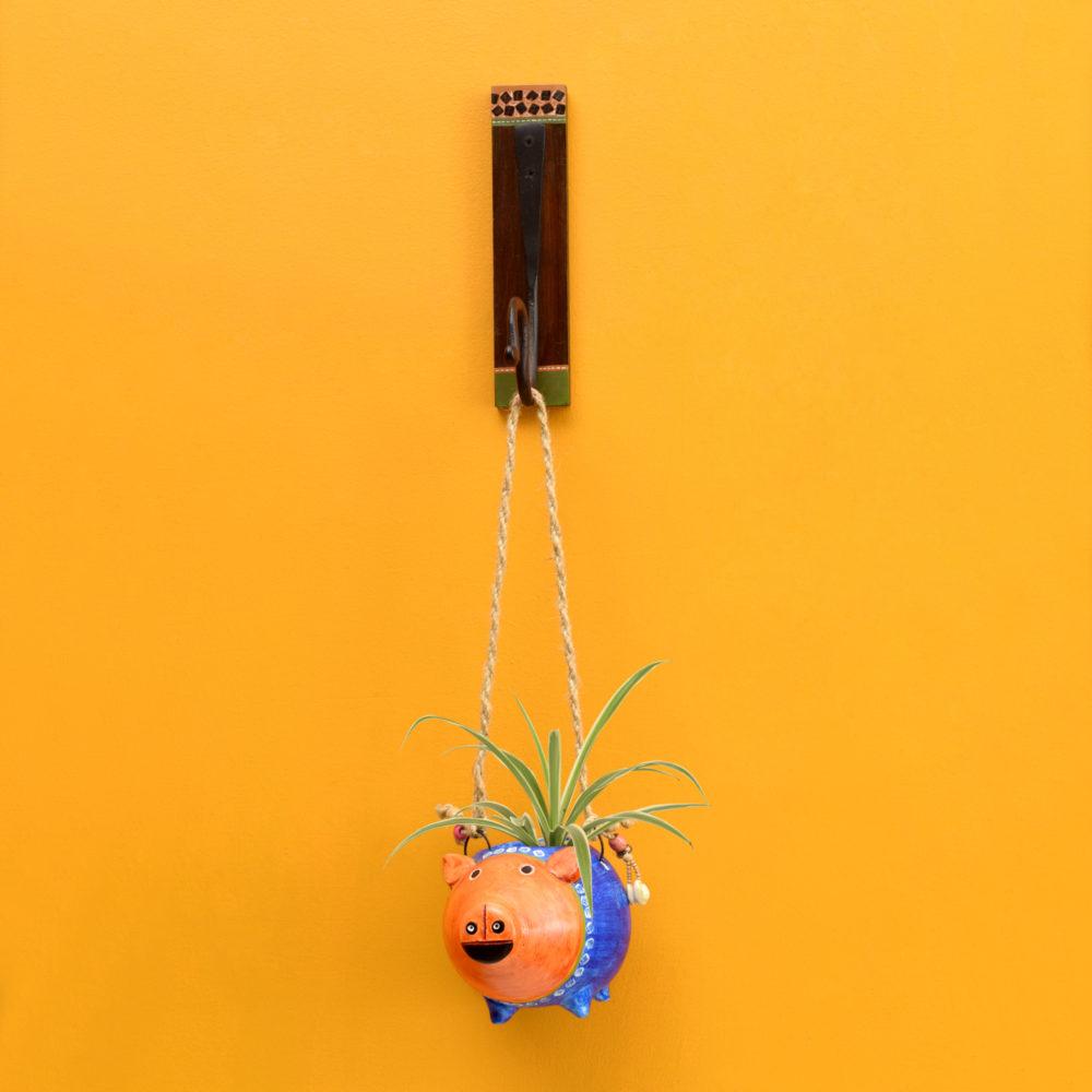 Blue Pig Earthen Planter on a Classic Wall Hook
