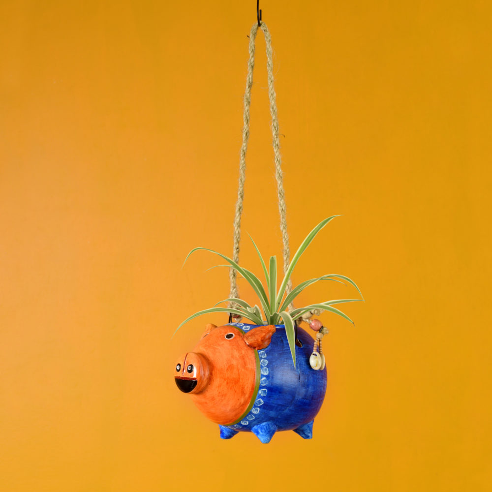 Blue Pig Earthen Planter with Jute Hanger