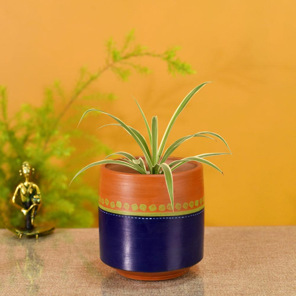 Blue-Brown Earthen Planter Pot (4.5x4.5x5)