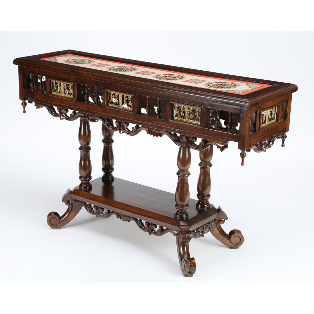 Crown Console Table in Teakwood with Walnut Finish (48x15x30)