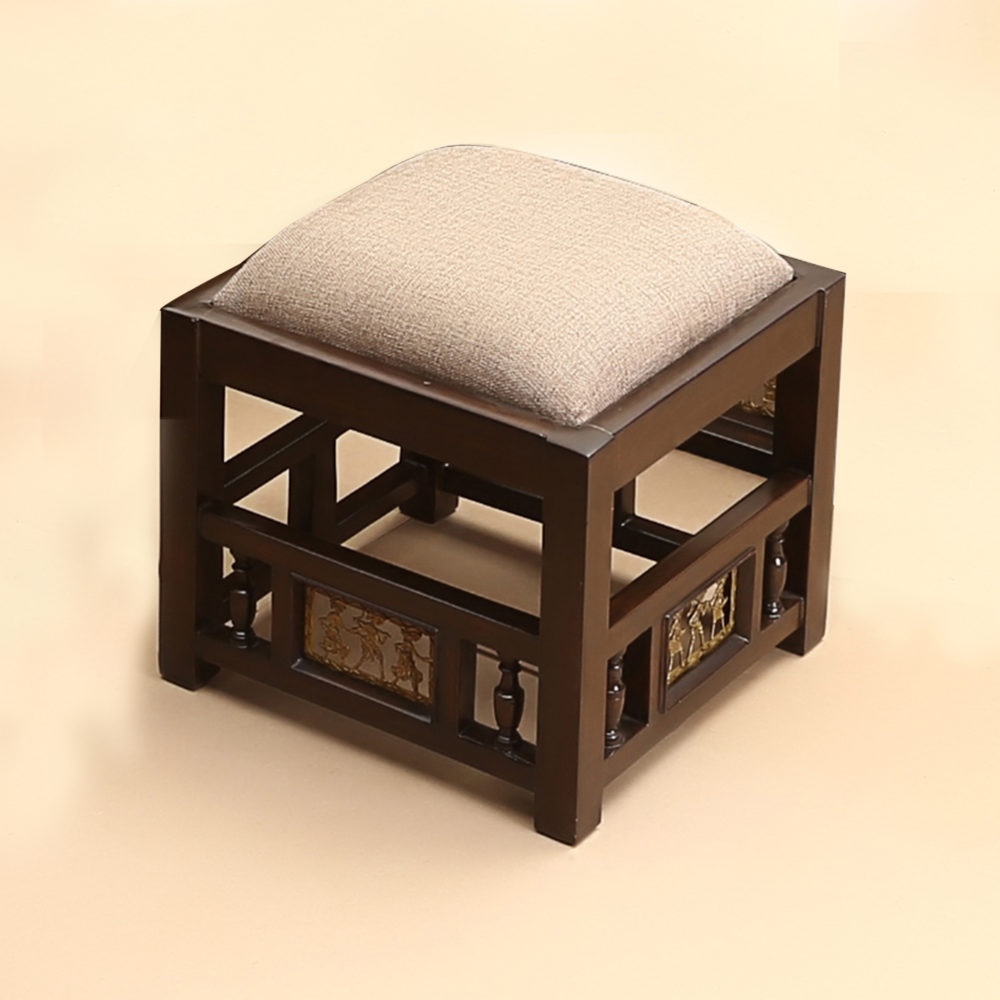 Coco Pouffe with Red/Beige Upholstery (13.5x13.5x13)