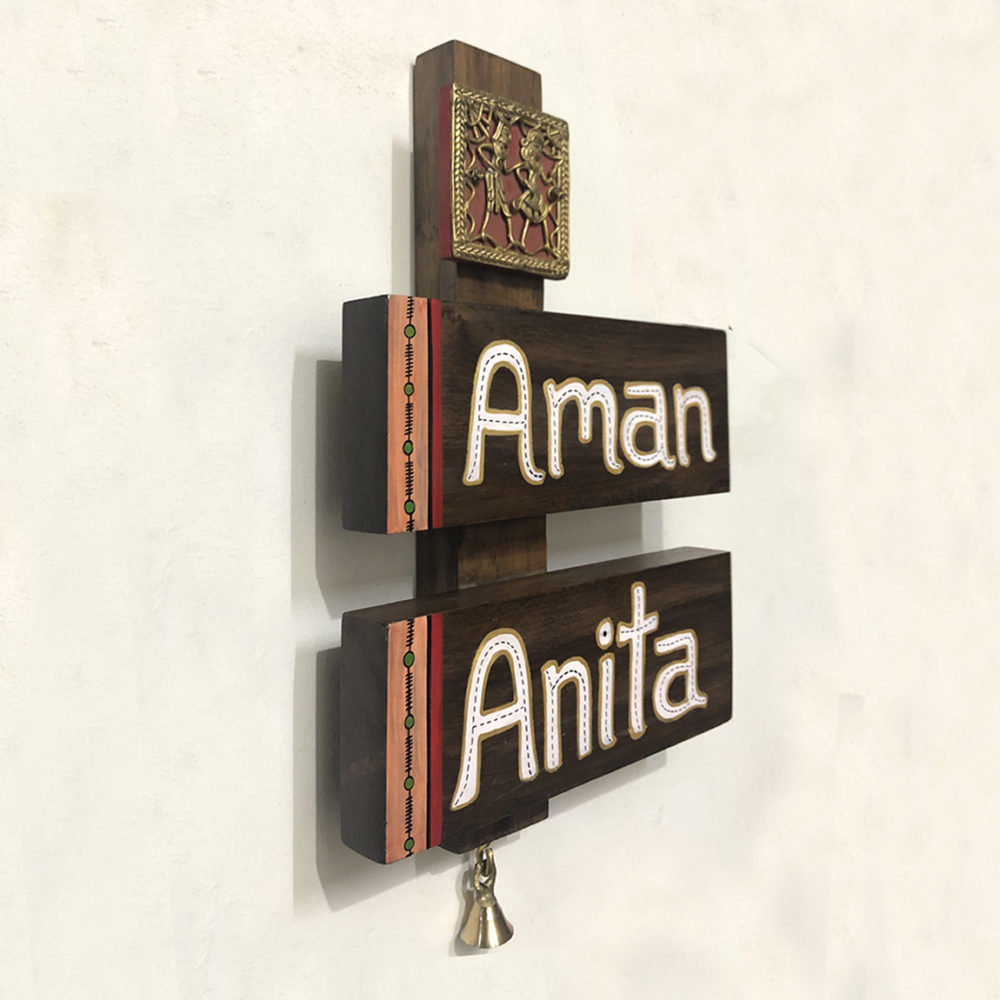 Wooden Name Plate with Dhokra Art Tile - 2 Names