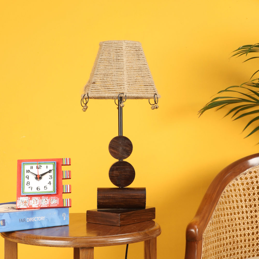 Tao  Wooden Table Lamp with Tapered Drum Jute Shade-Height - 19''