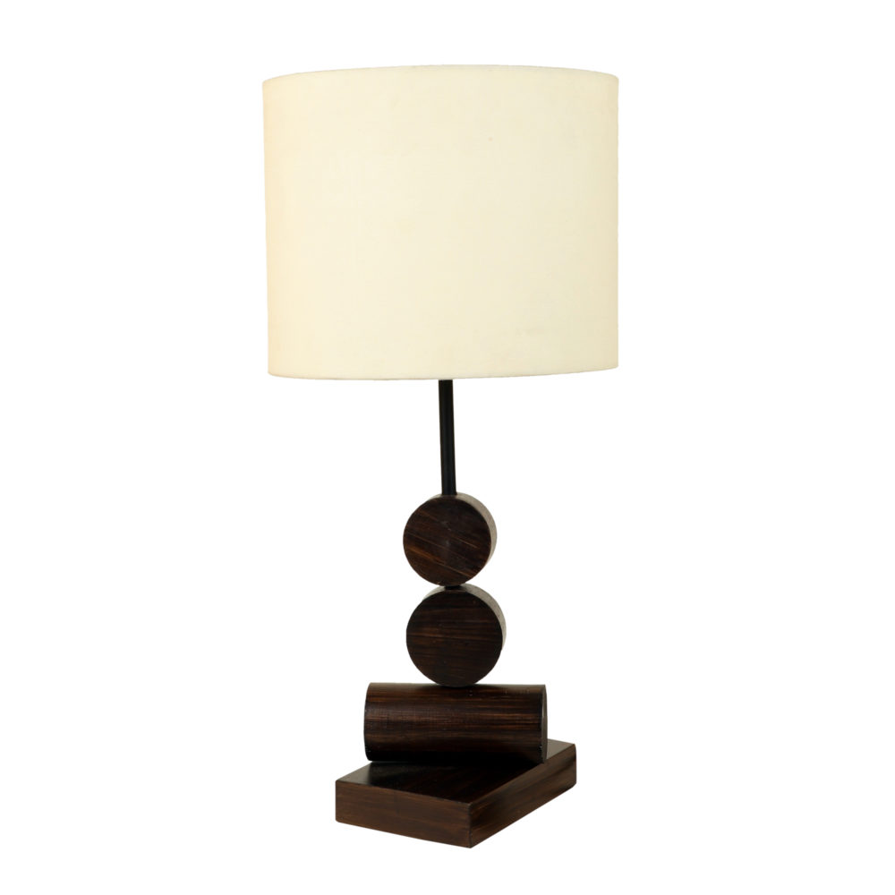 Tao I Wooden Table Lamp with Shallow Drum Shade-Height - 21''