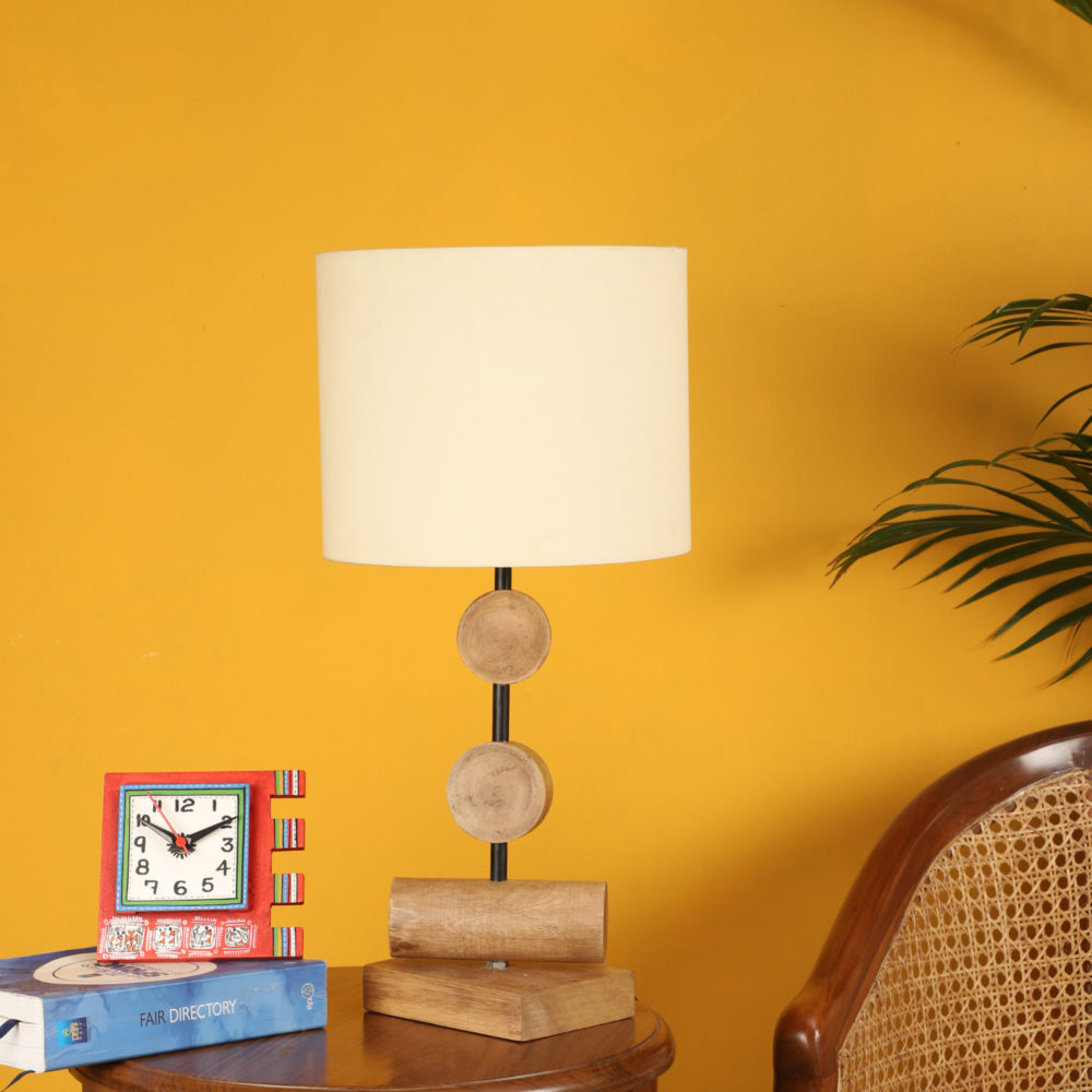 Tao III Wooden Table Lamp with Shallow Drum Shade-Height - 21''