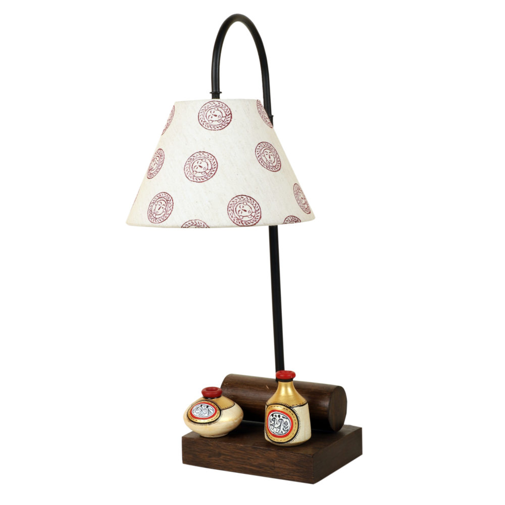 Yin & Yang II Table Lamp with Tapered Drum Shade-Height - 21''