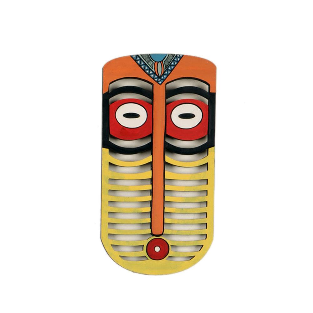 Karo Tribal Yellow Wall Decor Mask (5x10)