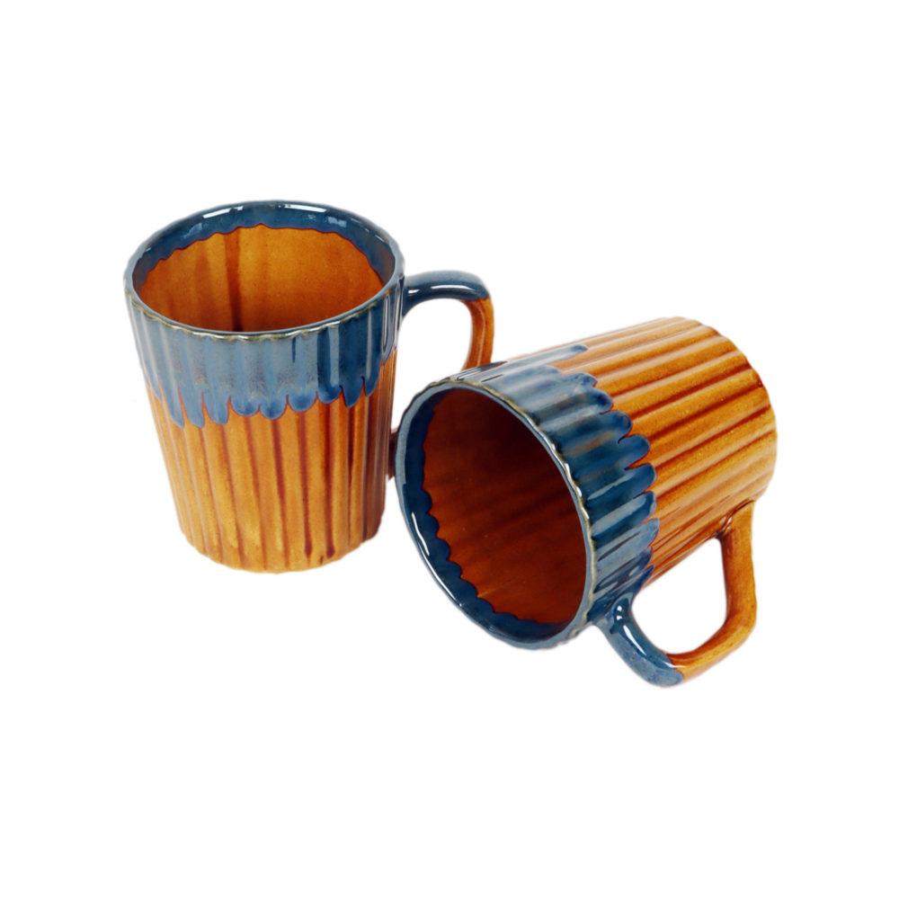 Rustic Orange Mugs Set of 2