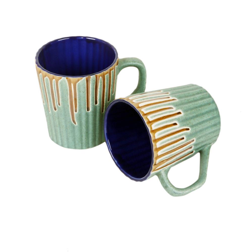 Turquoise Drip Mugs Set of 2
