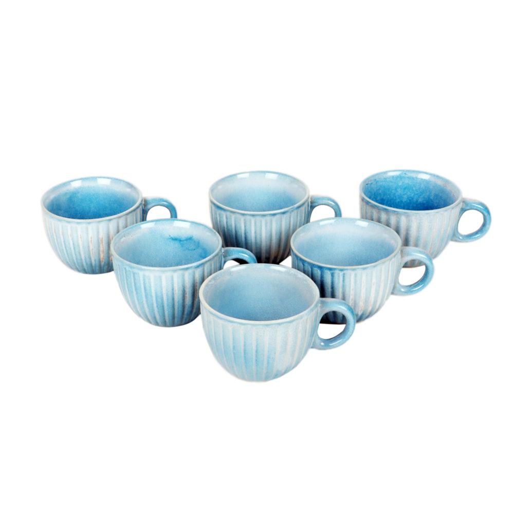 Cyan Blue Tea Cups Set of 6
