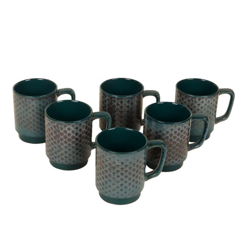 Emerald Green Tea Cups Set of 6