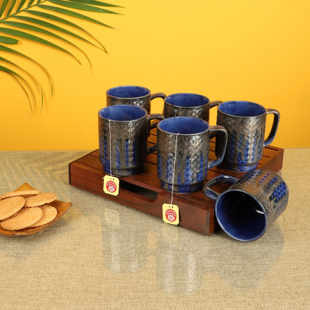 Midnight Blue Tea Cups Set of 6