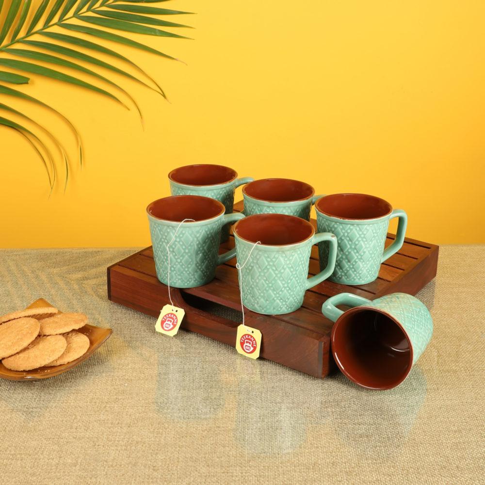 Mint Green Tea Cups Set of 6