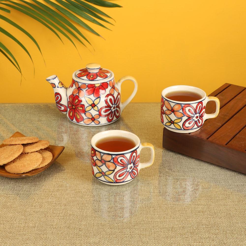 Crimson Flower Tea Kettle And Cups