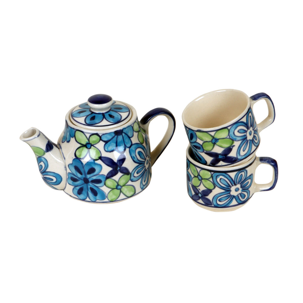 Electric Blue Flower Tea Kettle And Cups