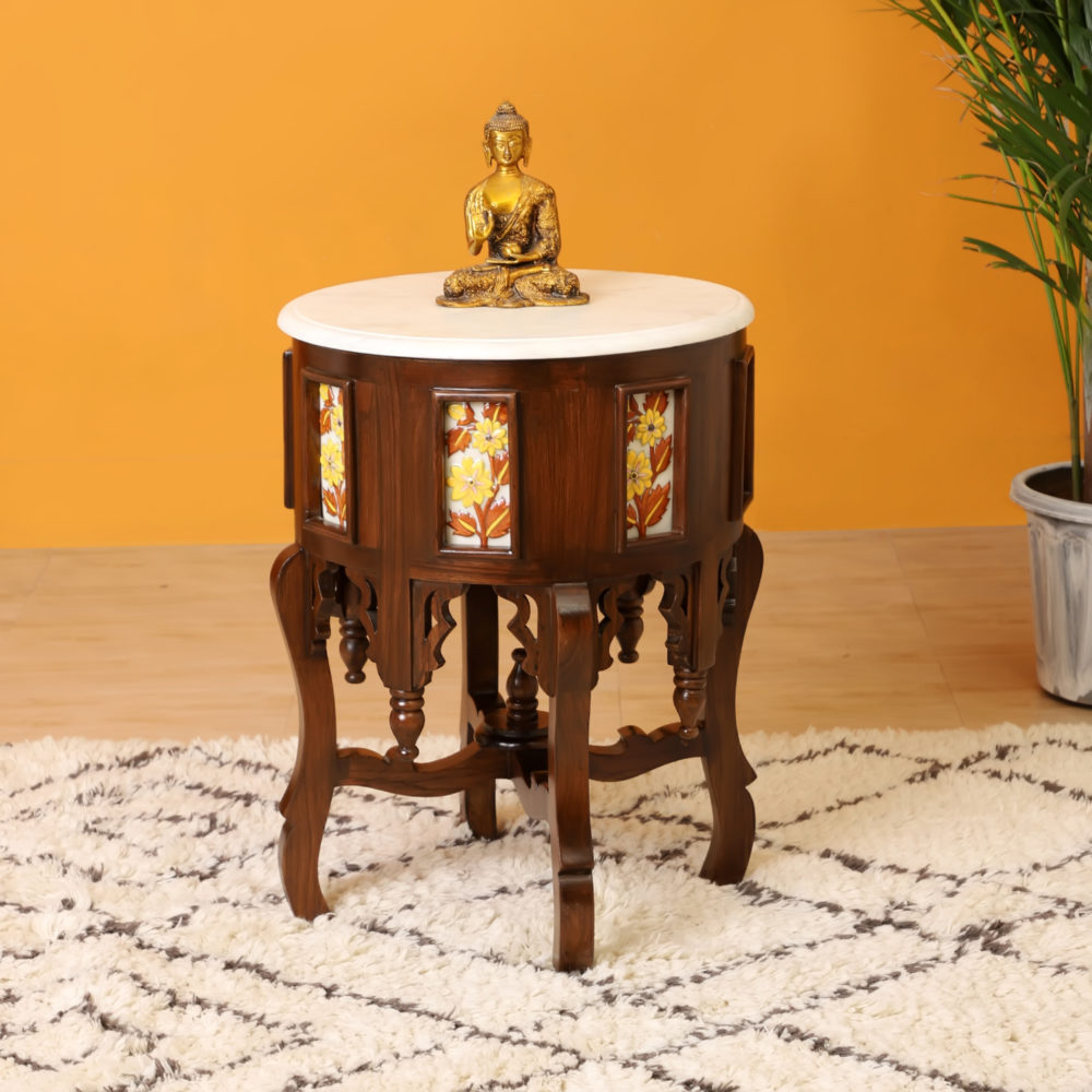 Fiama End Table in Teakwood with Walnut Finish and Round Marble Top (18x18x24)