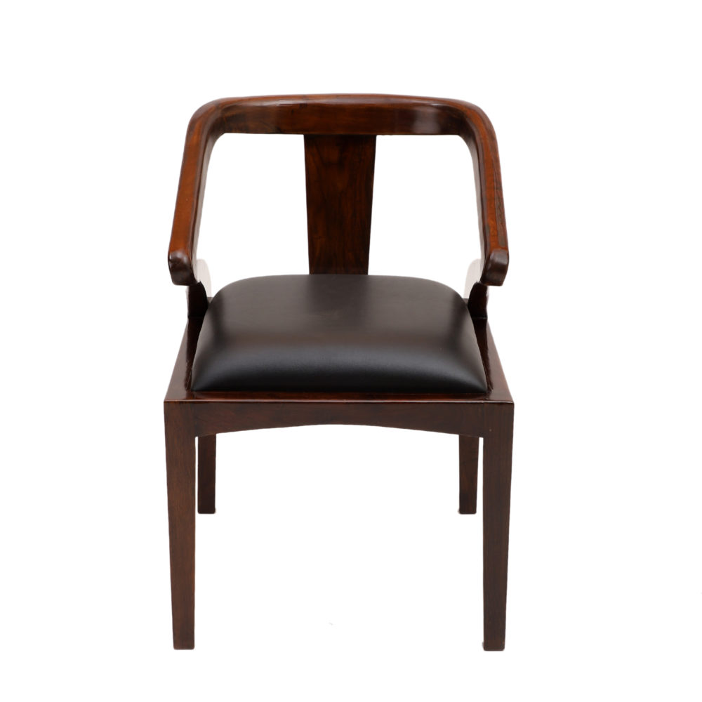 Monk Chair in Premium Teakwood in Walnut Finish with Leatherite Seat (20x24x30)