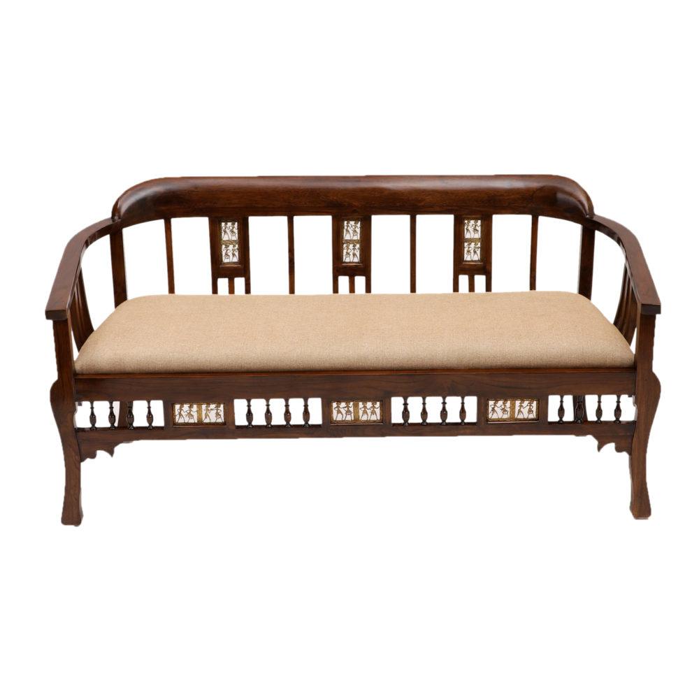 Espa Three Seater Sofa in Premium Teakwood in Walnut Finish (62x27x32)