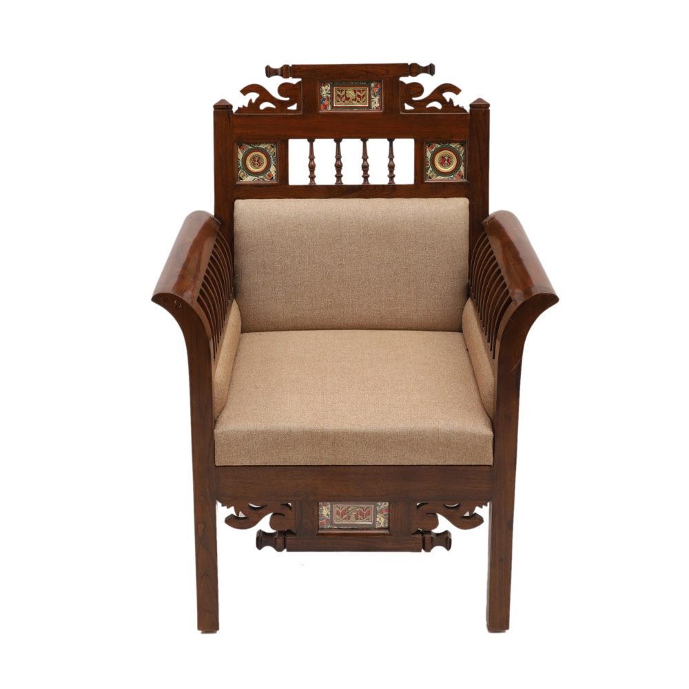 Maharaja-II Single Seater Sofa in Teakwood with Walnut Finish adorned with Dhokra Brass Frames (30x26x41)