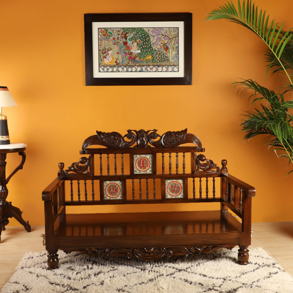 MALLIKA-II COUCH in Teakwood without Cushions in Walnut Finish (48x27x33)