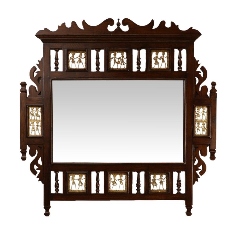 Soumya Teakwood Mirror in Walnut Finish adorned with Brass Frames (36x36)