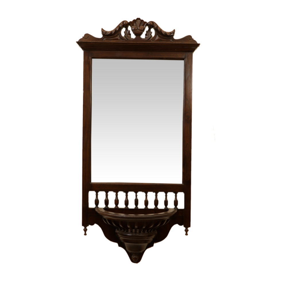 Manya Teakwood Mirror in Walnut Finish adorned with Brass Frames (20x9x45)
