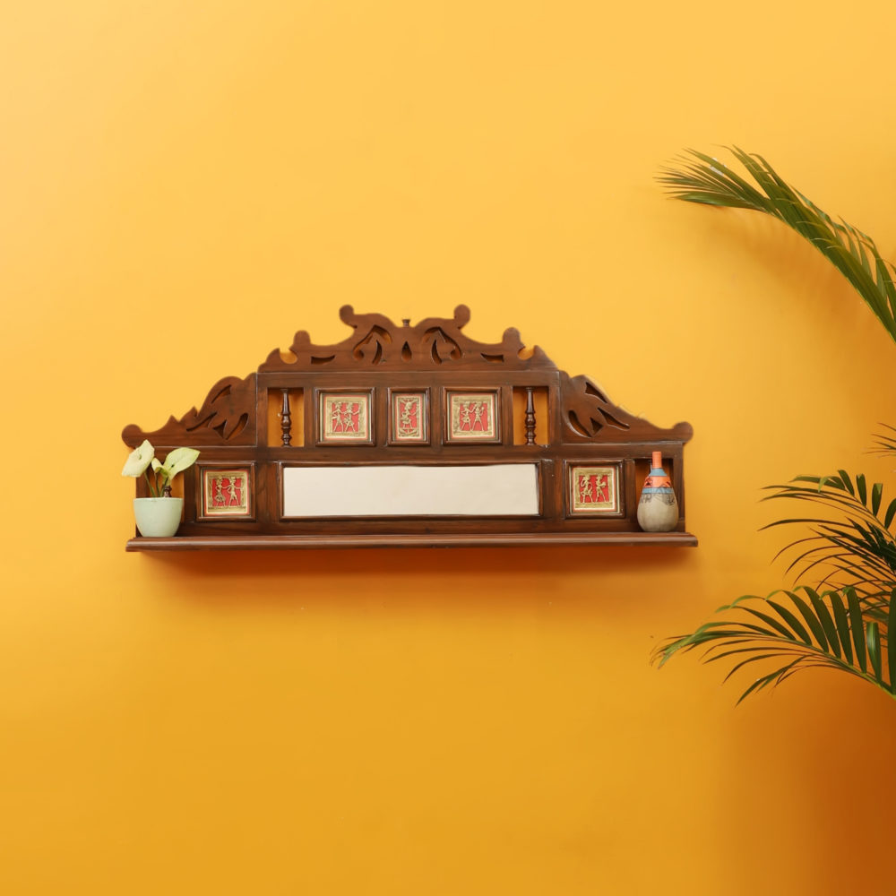 Alia Wall Decor Shelves in Teakwood with Walnut Finish adorned with Brass Art Work (39x5.5x17)