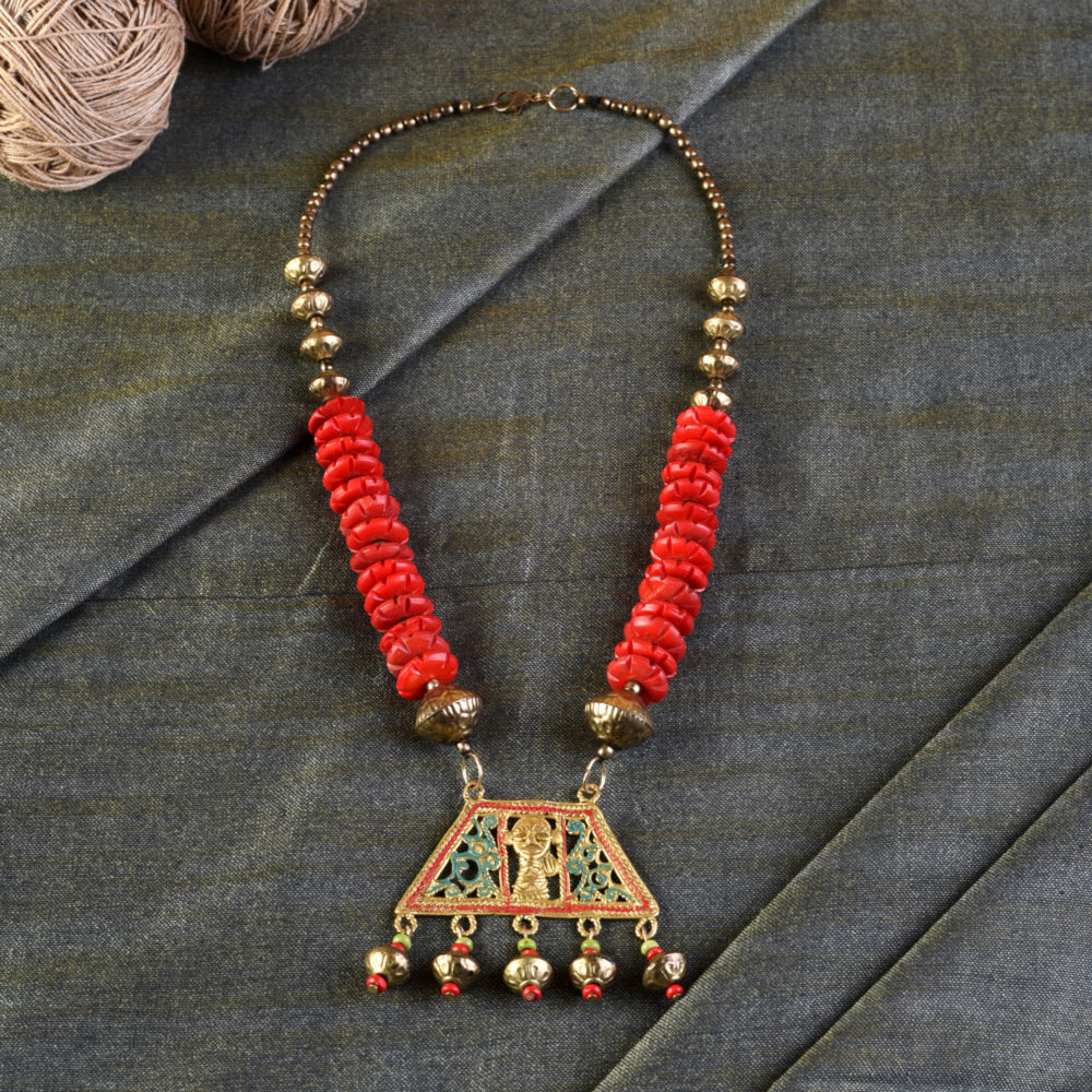 Tribal Trinity Handcrafted Dhokra Necklace