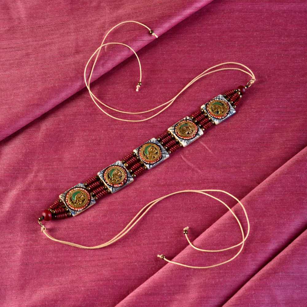 The Guards Of Empress I Handcrafted Tribal Dhokra Square Choker