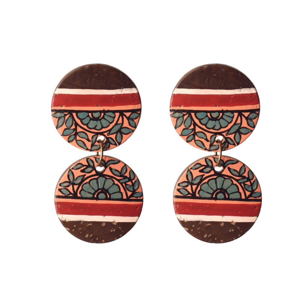 Floral Drops Handcrafted Tribal Wooden Earrings