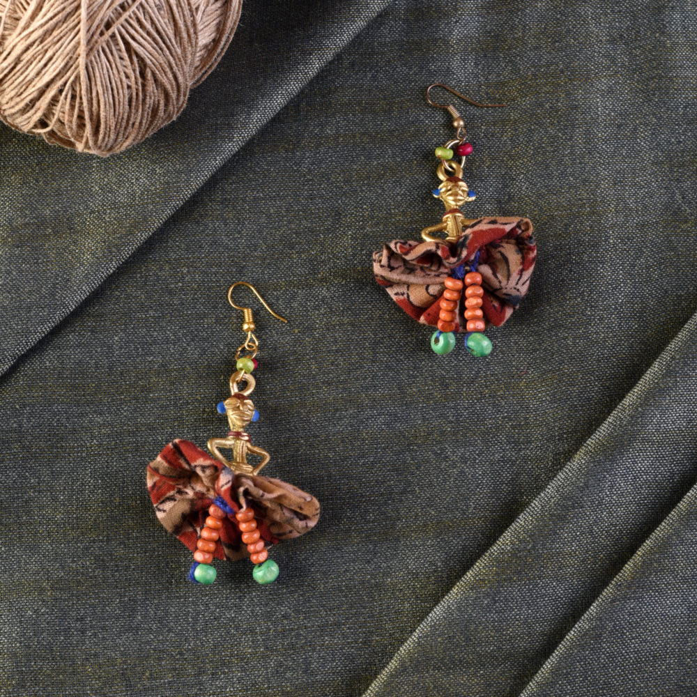 The Dancing Empress Handcrafted Tribal Dhokra Earrings in Floral Design