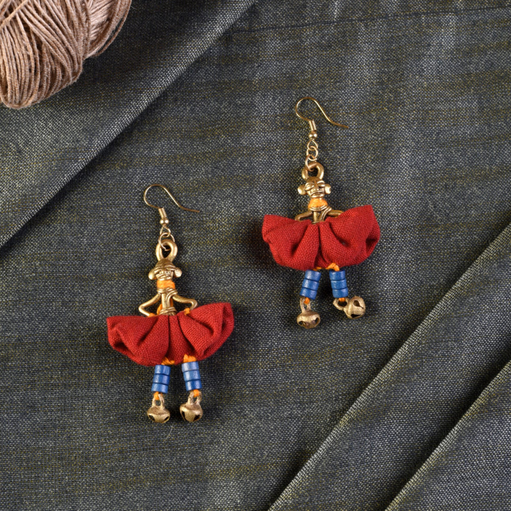 The Dancing Empress Handcrafted Tribal Dhokra Earrings in Garnet Red