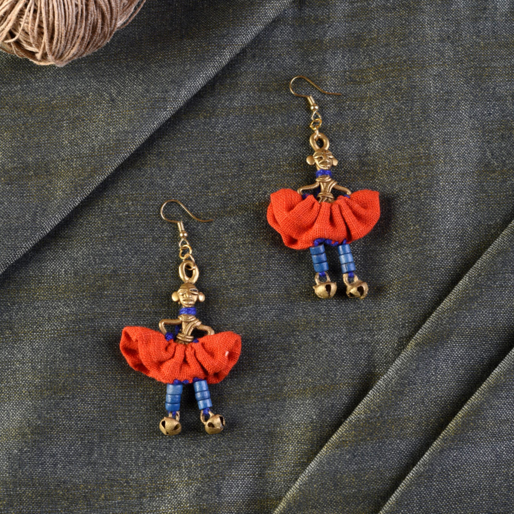 The Dancing Empress Handcrafted Tribal Dhokra Earrings in Sunset Orange