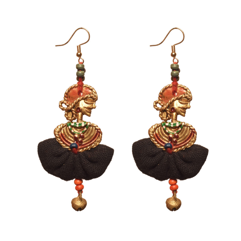 The Dancing Empress Handcrafted Tribal Dhokra Earrings in Jet Black