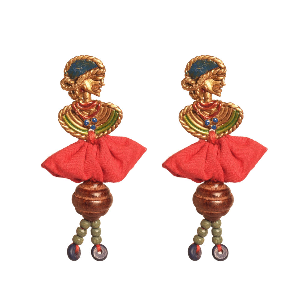 The Dancing Empress Handcrafted Tribal Dhokra Earrings in multicolours