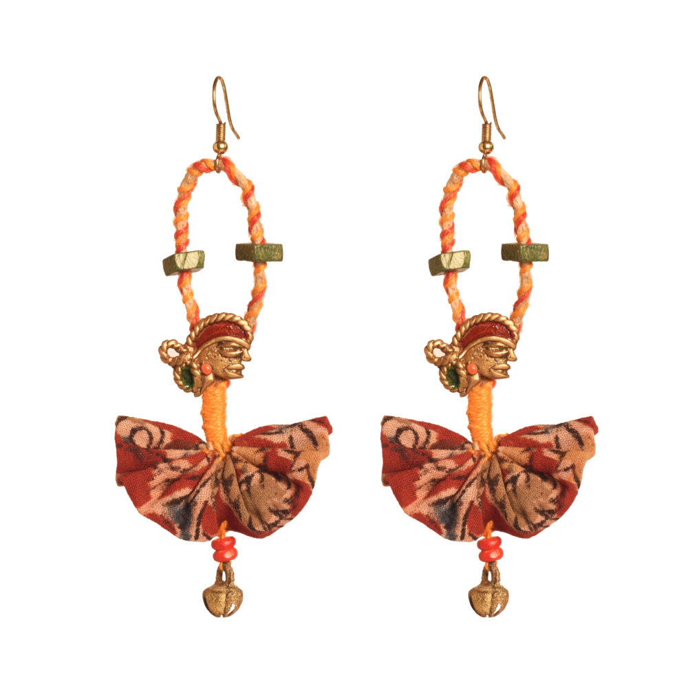 The Empress Handcrafted Tribal Dhokra Earrings in Red Floral Design