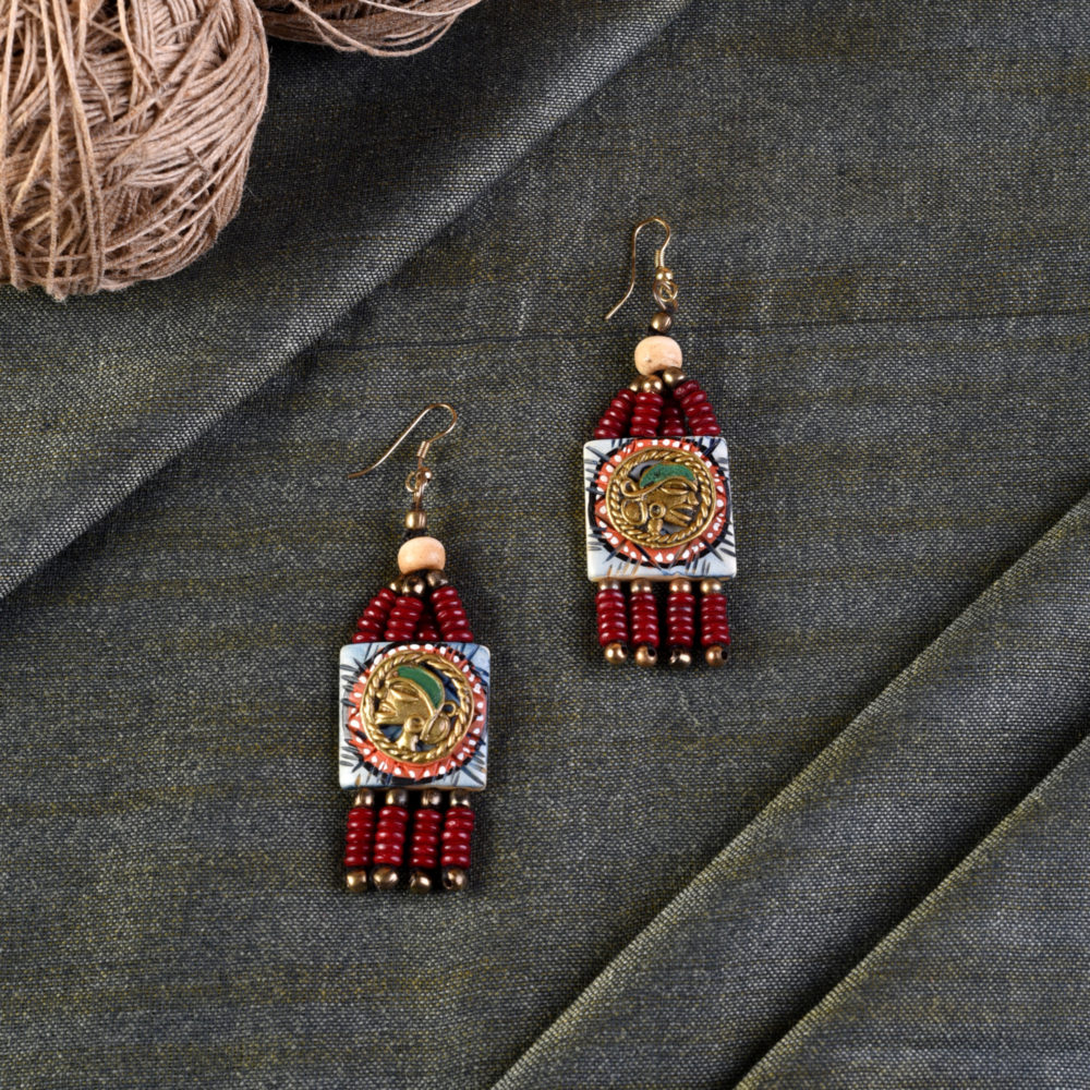 The Empress Handcrafted Tribal Dhokra Earrings in Turquoise