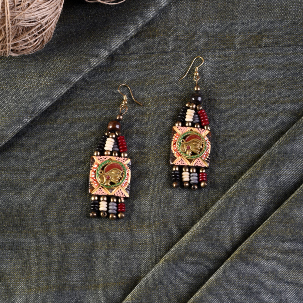The Empress Handcrafted Tribal Dhokra Earrings in Multicolour