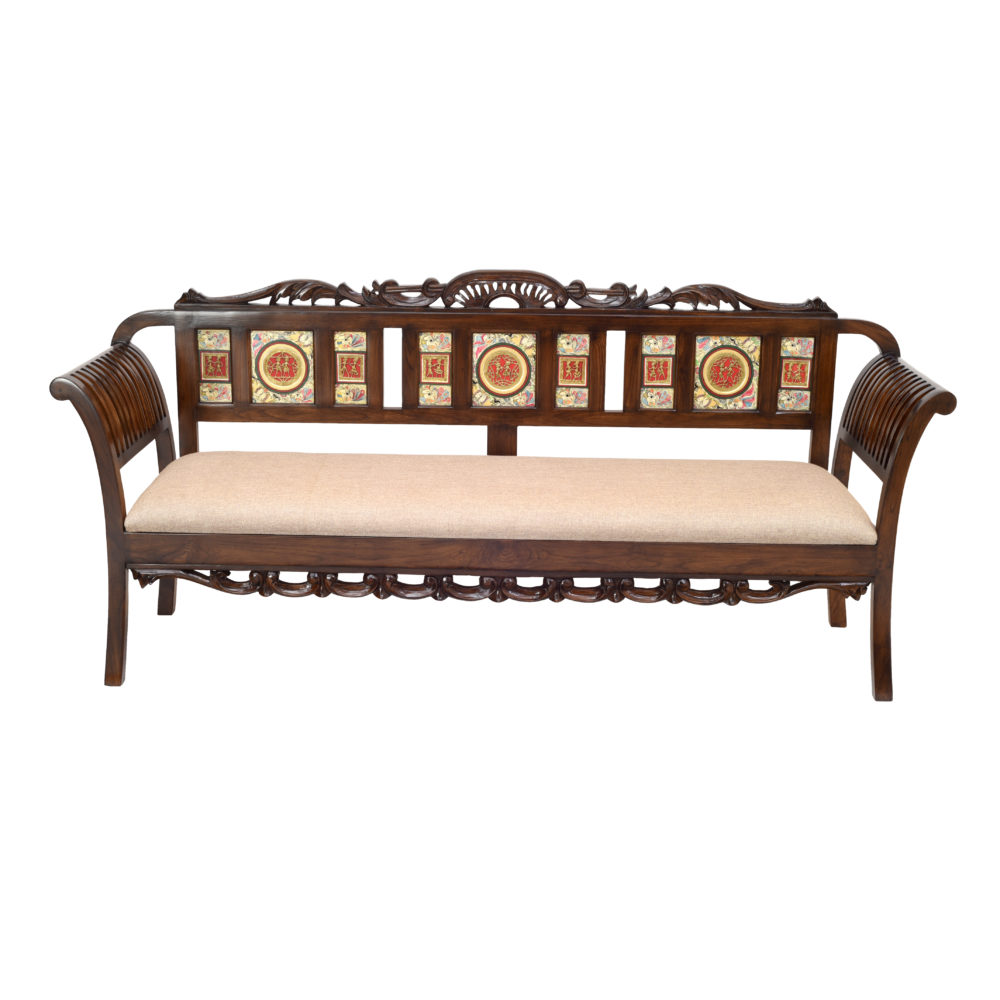 Alpa-I Three Seater Sofa with Cushioned Seat and Designer Back Rest in Walnut Colour (69x22x35)