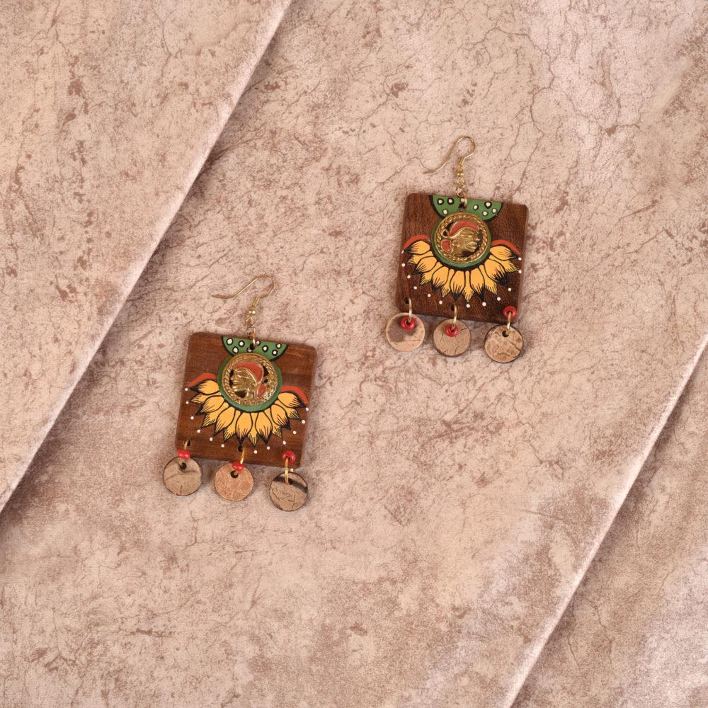 Butterfly-X' Handcrafted Tribal Wooden Earrings
