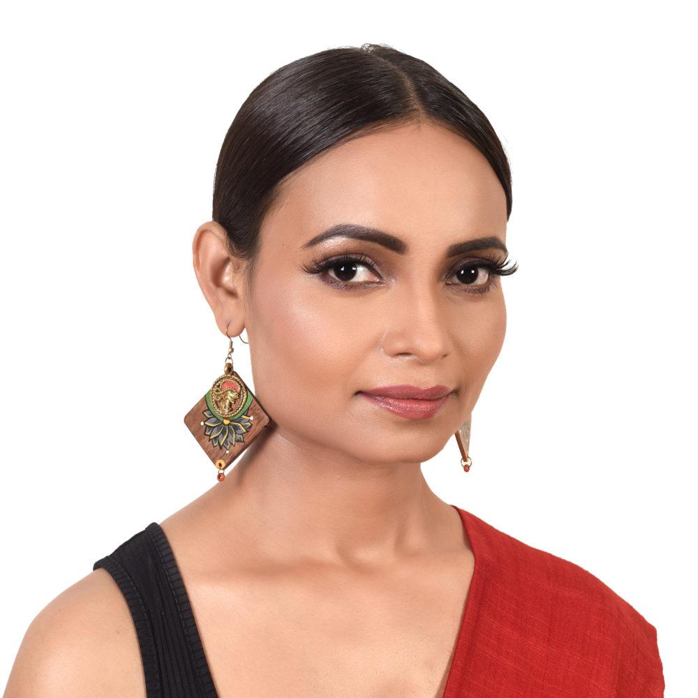 Butterfly-I' Handcrafted Tribal Wooden Earrings