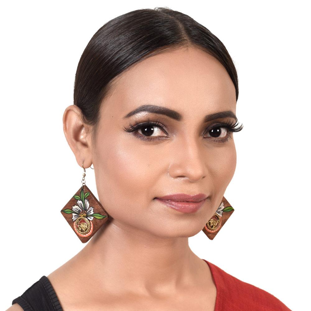 Butterfly-II' Handcrafted Tribal Wooden Earrings