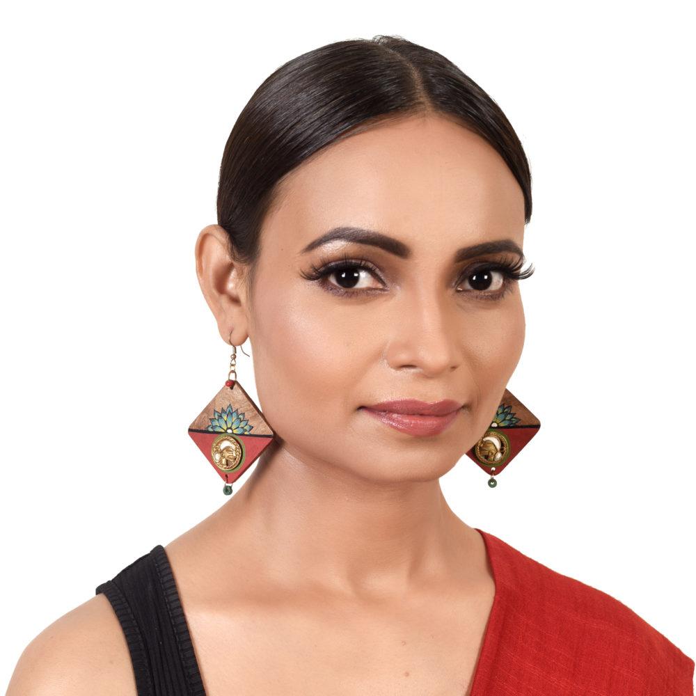 Butterfly-III' Handcrafted Tribal Wooden Earrings