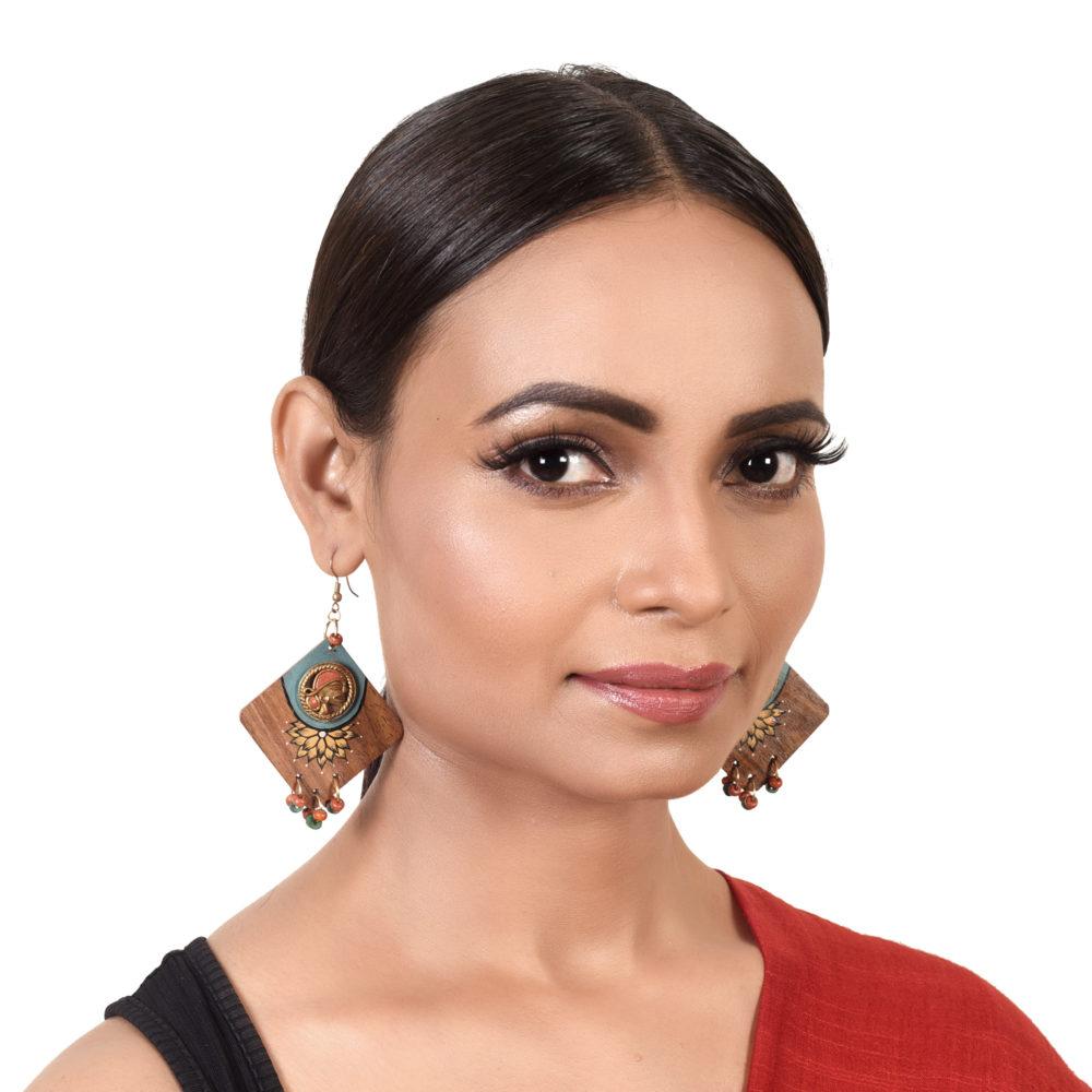 Butterfly-IV' Handcrafted Tribal Wooden Earrings