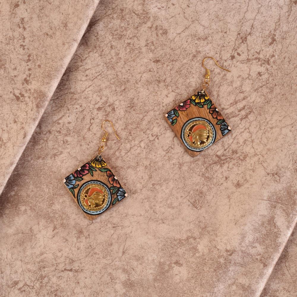 Butterfly-VII' Handcrafted Tribal Wooden Earrings